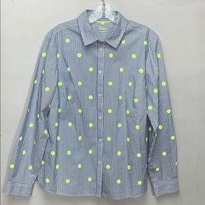 Boden Classic Shirt Blue/White Neon Sequins Polka